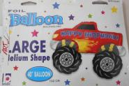 Ballon -Happy Birthday Monster Truck 1 St holografisch 102cm
